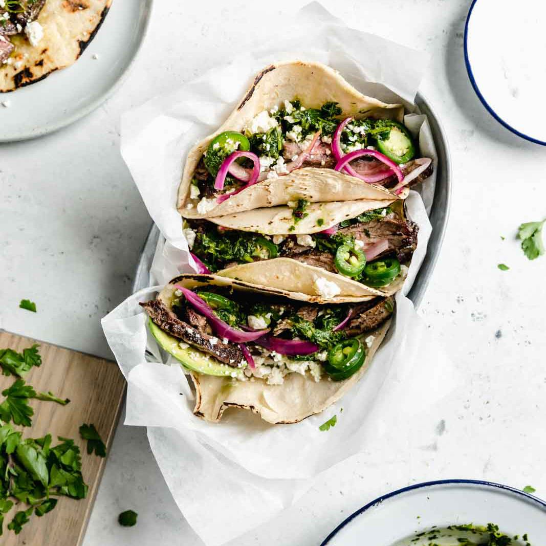 Tacos de filete de chimichurri