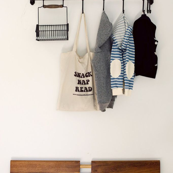 Ikea's Fintorp system as a coat rack for the entryway