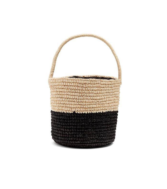 Bi-colour toquilla-straw basket bag