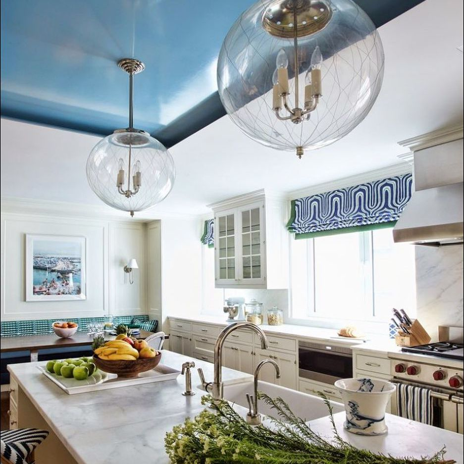 blue painted ceiling in kitchen