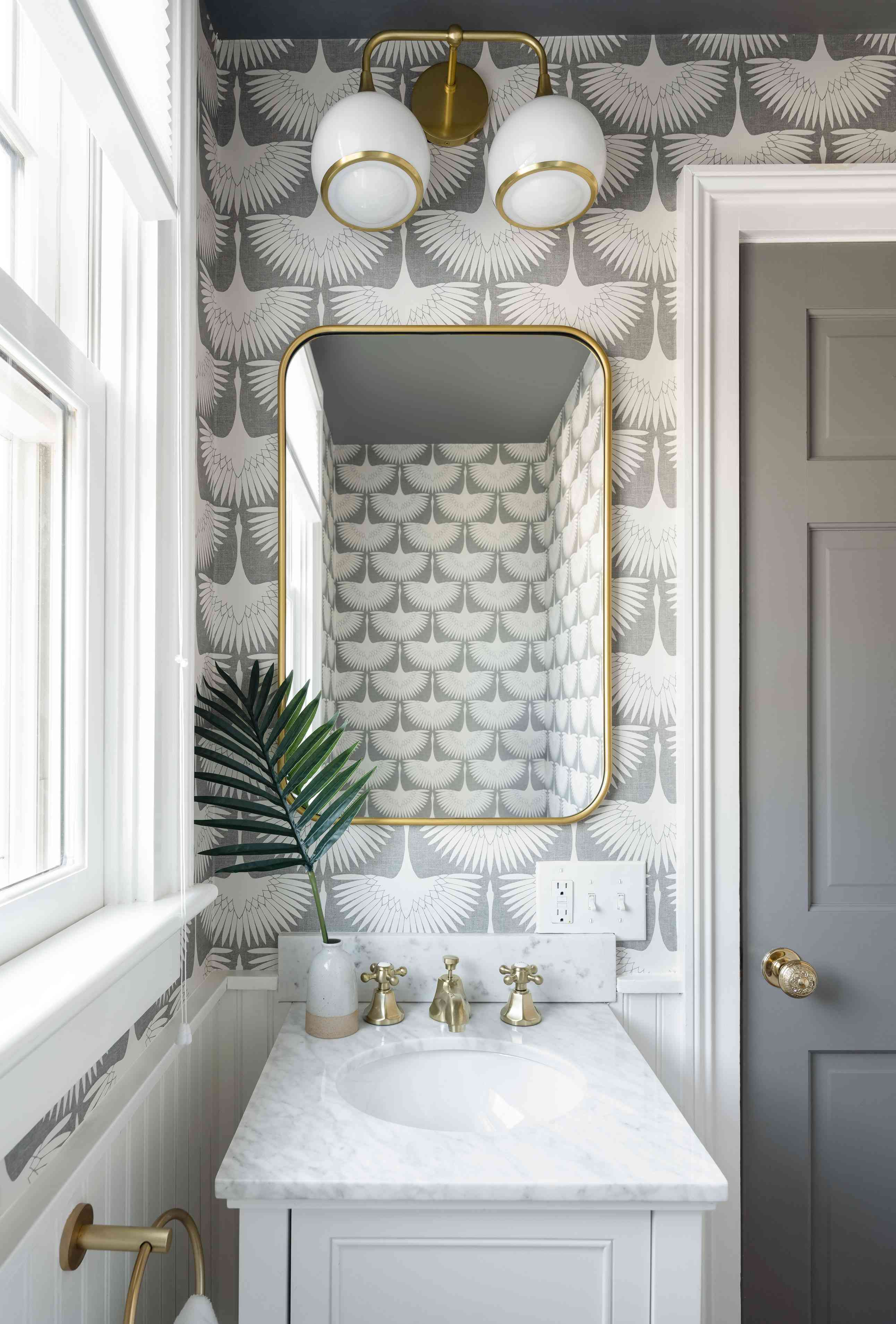 newport beach house tour - powder room with gray wallpaper
