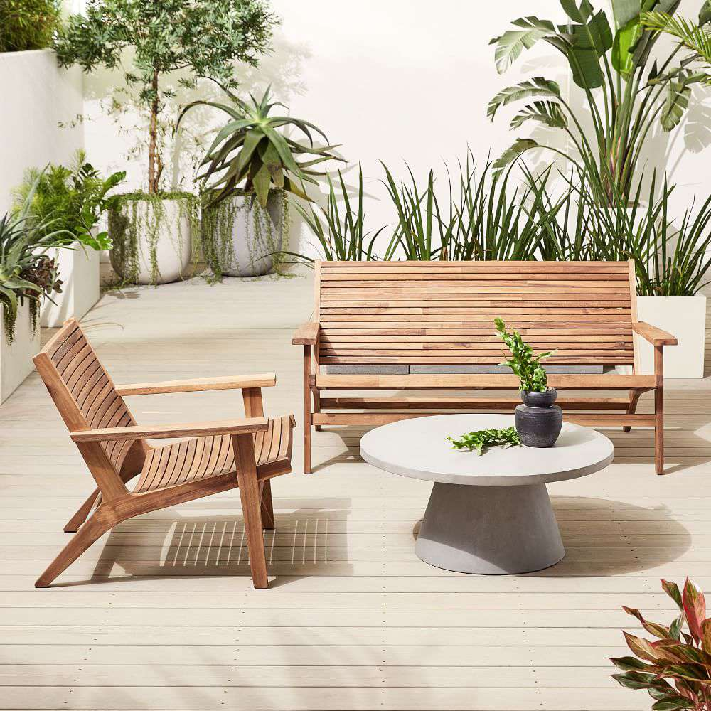 A modern outdoor furniture set, currently for sale at West Elm