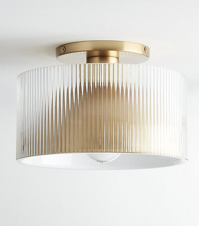 Striae Ribbed Glass Flush Mount Light