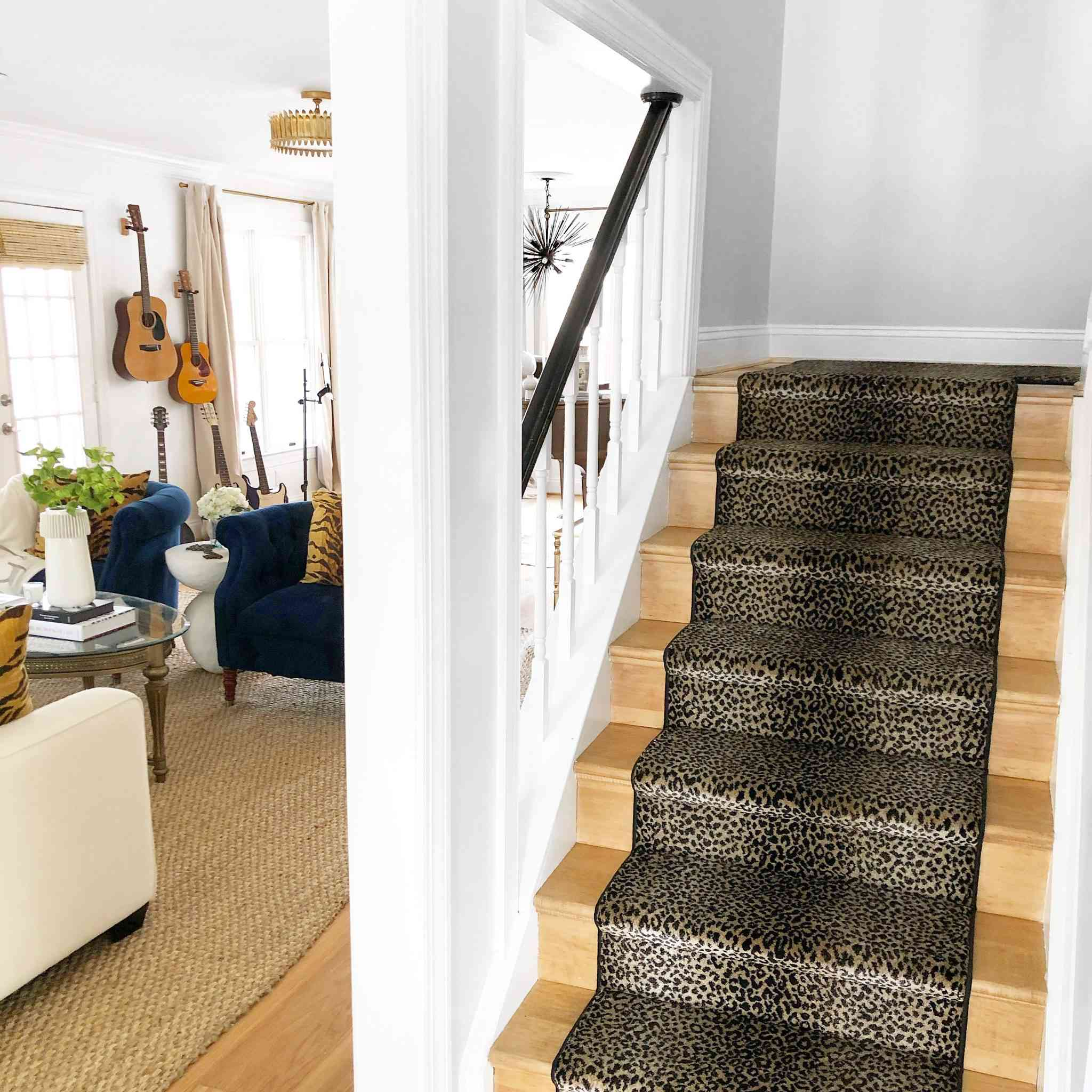 Small staircase with leopard print runner.