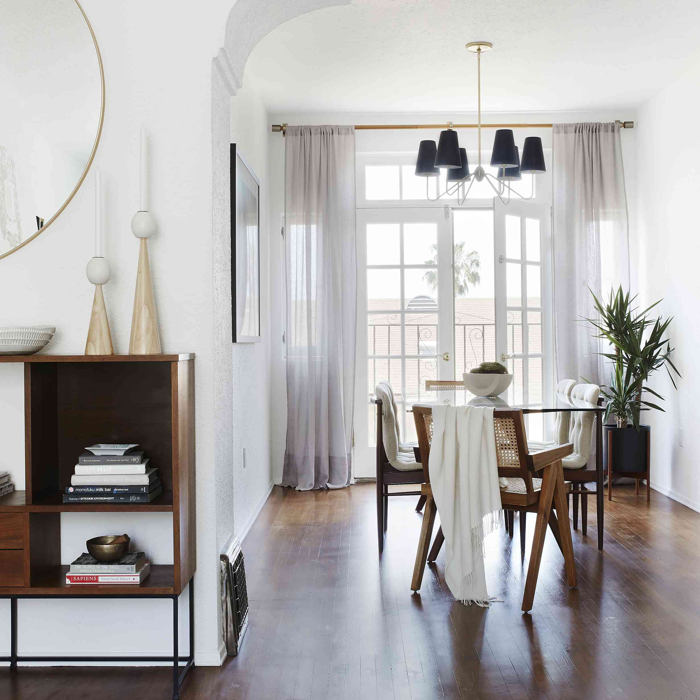 dining room with spanish-inspired architectural details