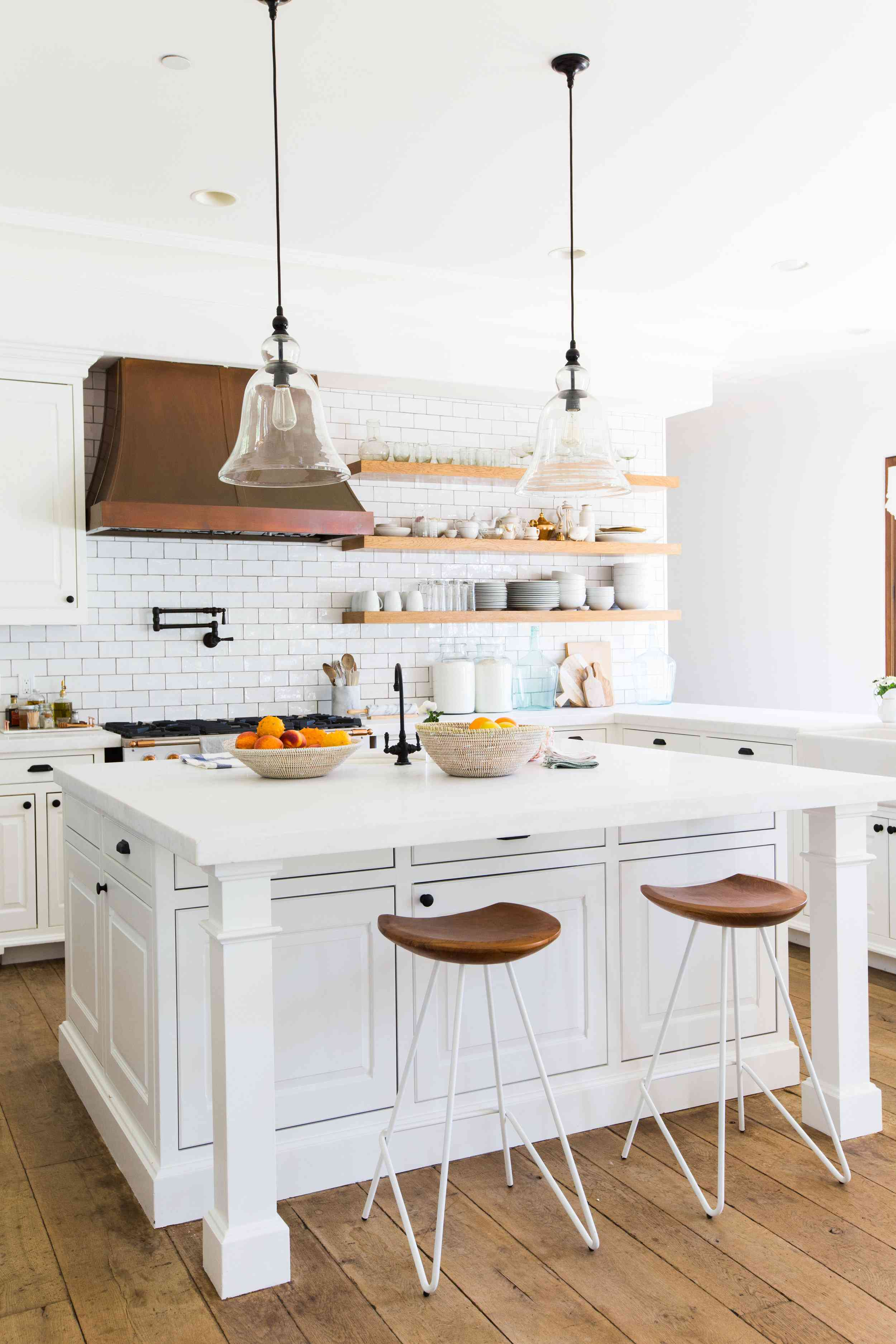 best kitchen ideas - all white kitchen with colored grout