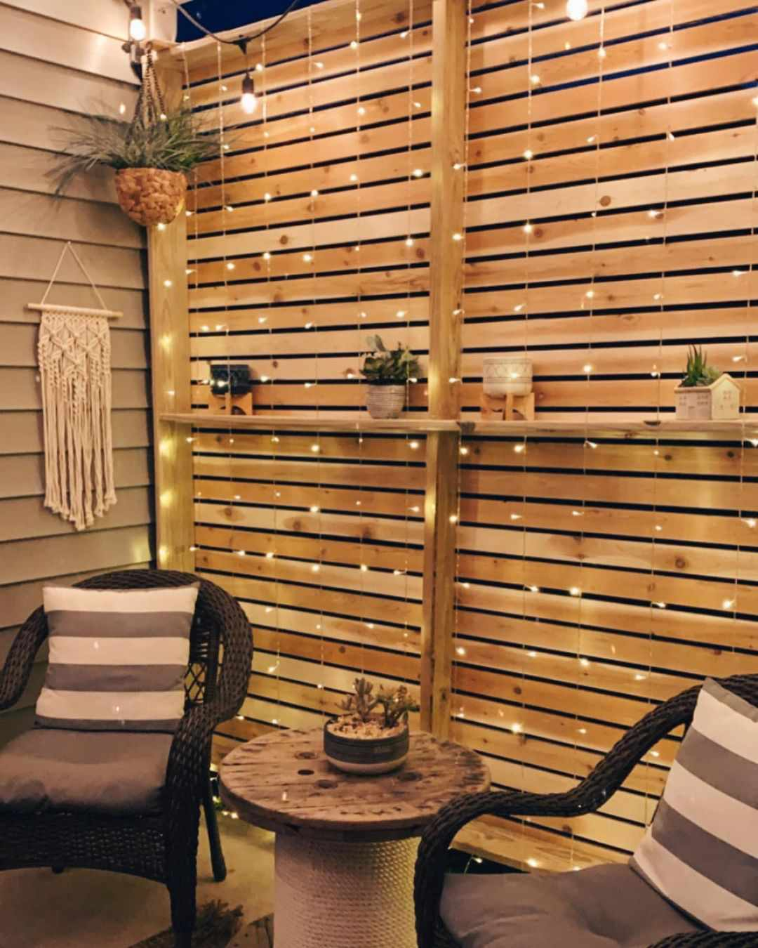 Patio with hanging string lights