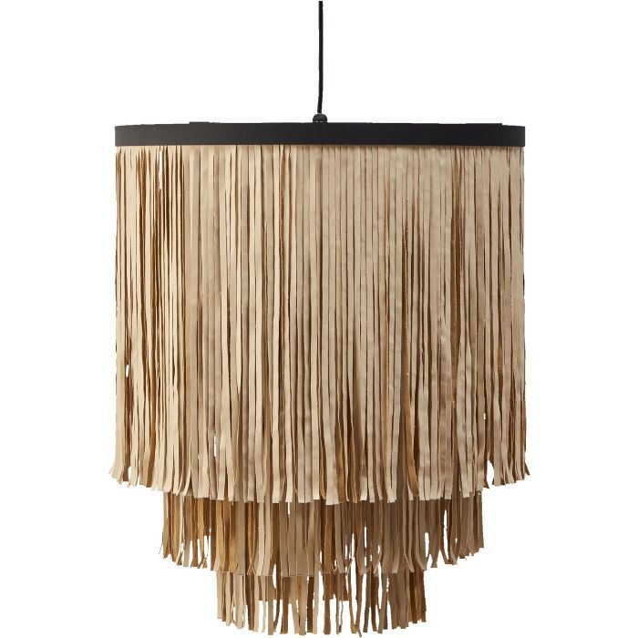 CB2 Fringe Faux Leather Pendant Light
