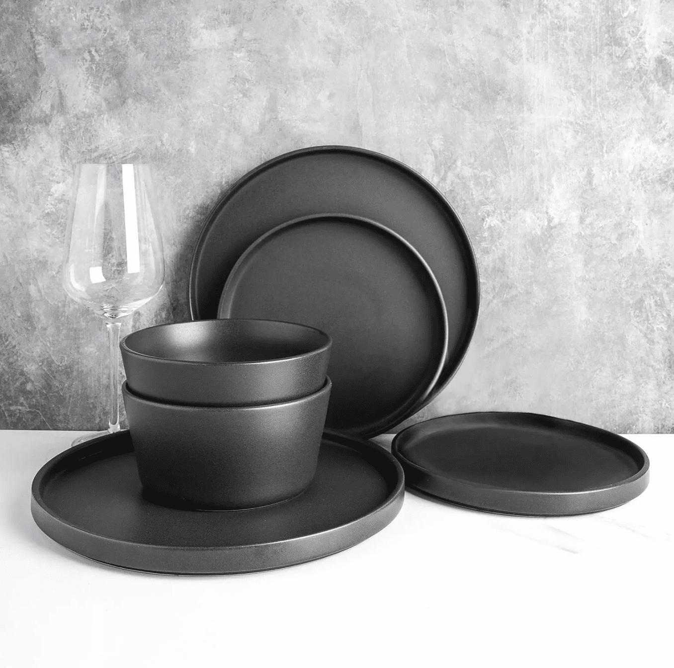 Stone Lain 24-Piece Modern Ledge Stoneware Dinnerware Set