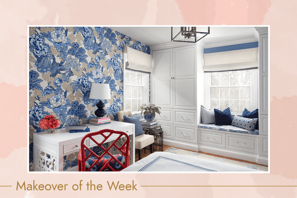 Complete makeover guest bedroom with blue classic patterns.