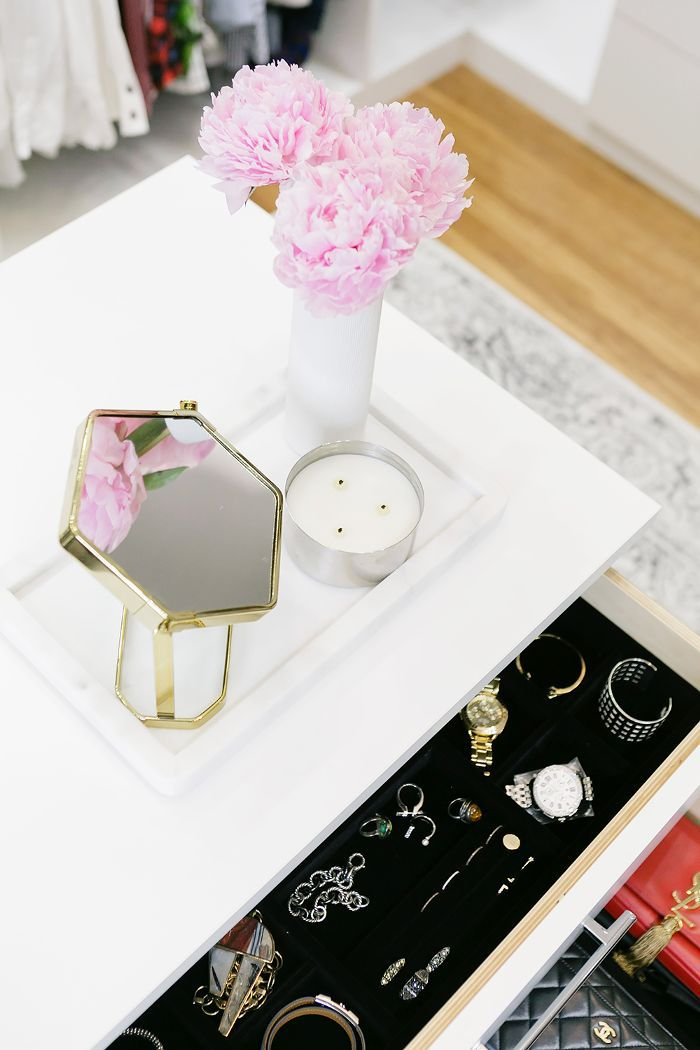 Walk-in closet jewelry drawer details