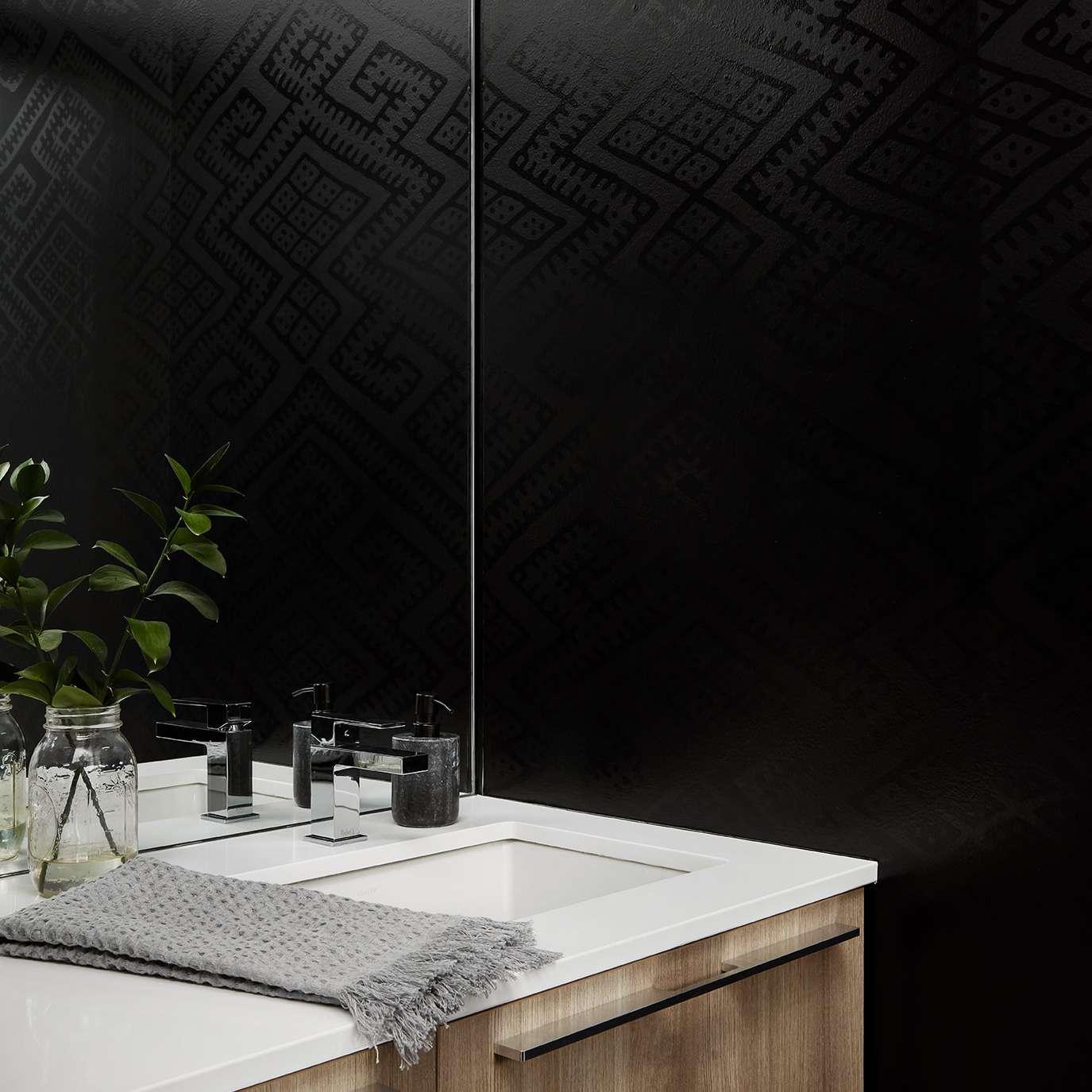 Black wallpaper bathroom