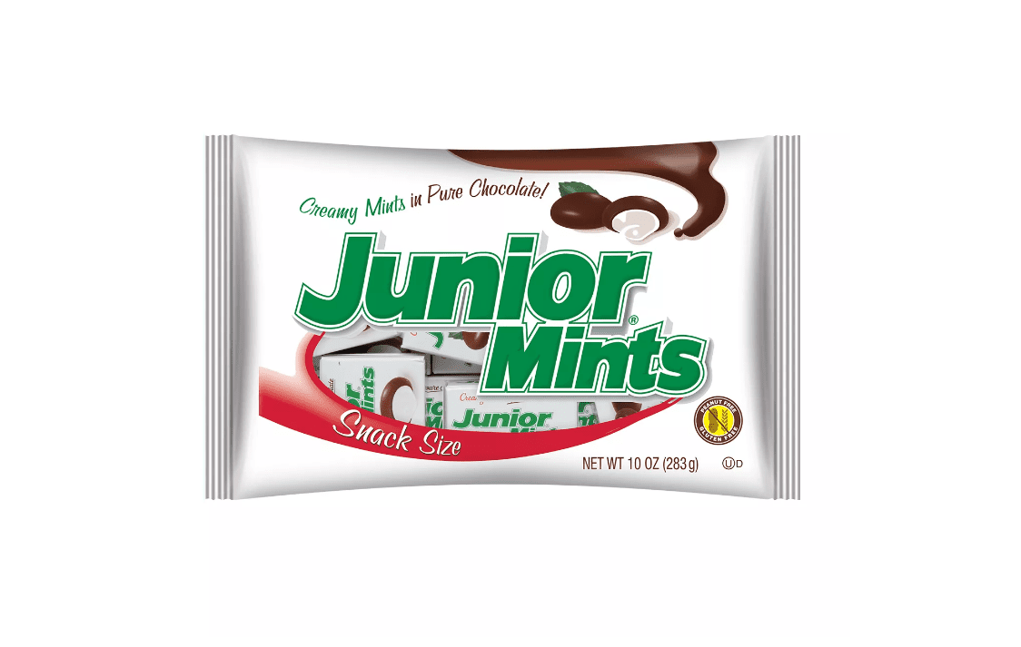 A snack pack full of individual boxes of Junior Mints.