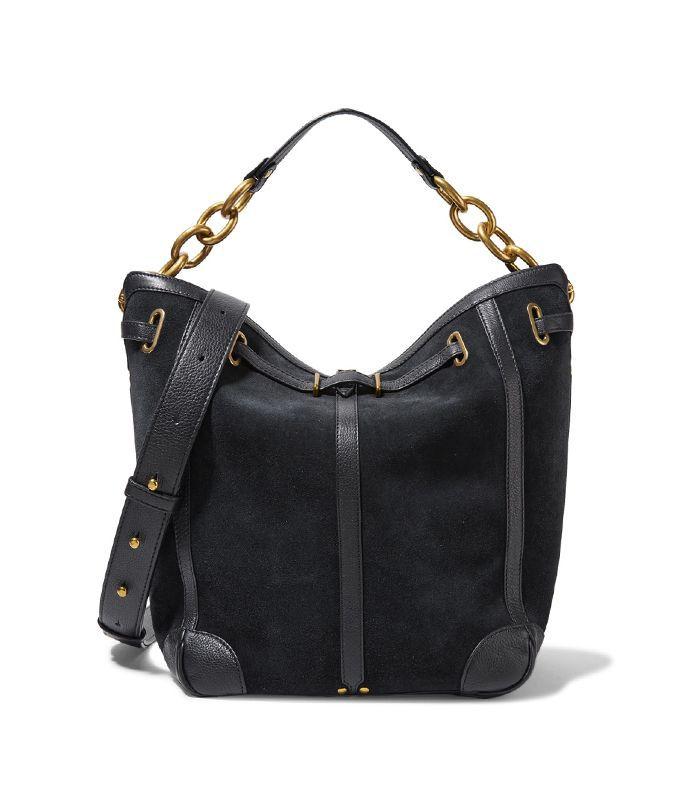 Tanguy Textured Leather-trimmed Suede Shoulder Bag