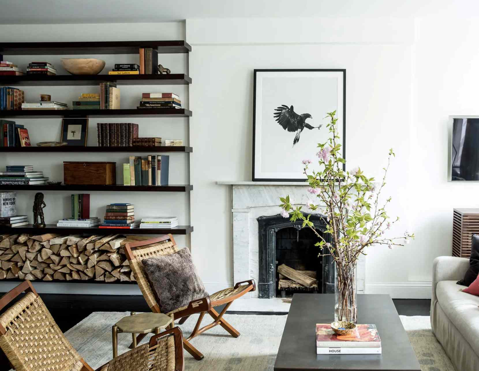 floating bookshelves built to fit uneven space in wall