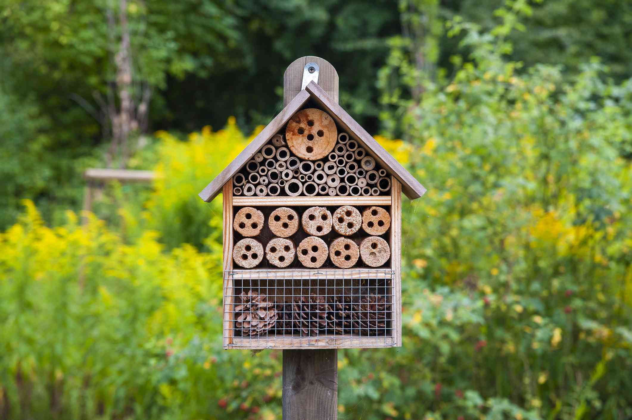 An insect hotel in a garden.