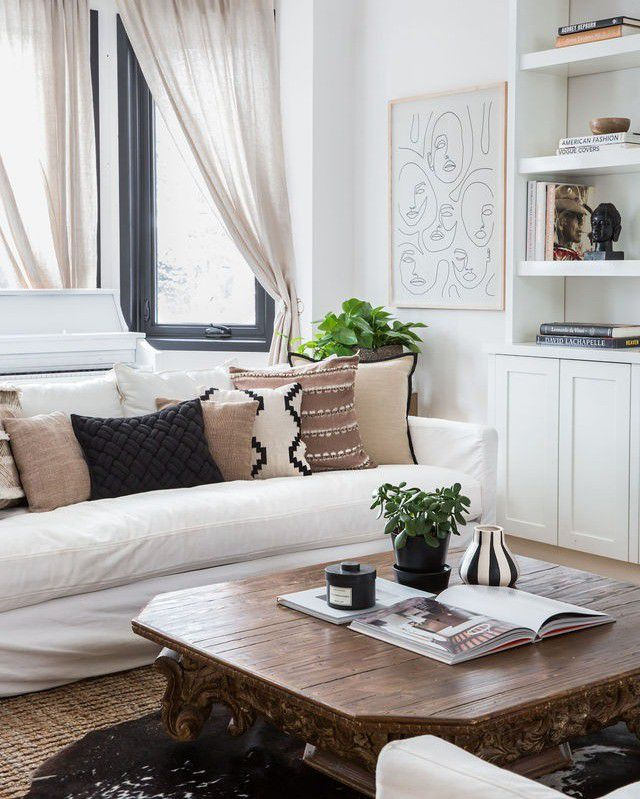 Living room with sheer white curtains