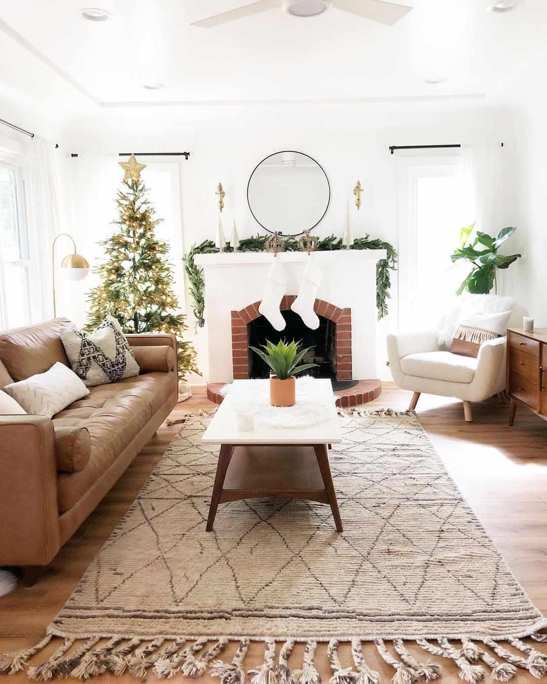 Christmas living room and fireplace.