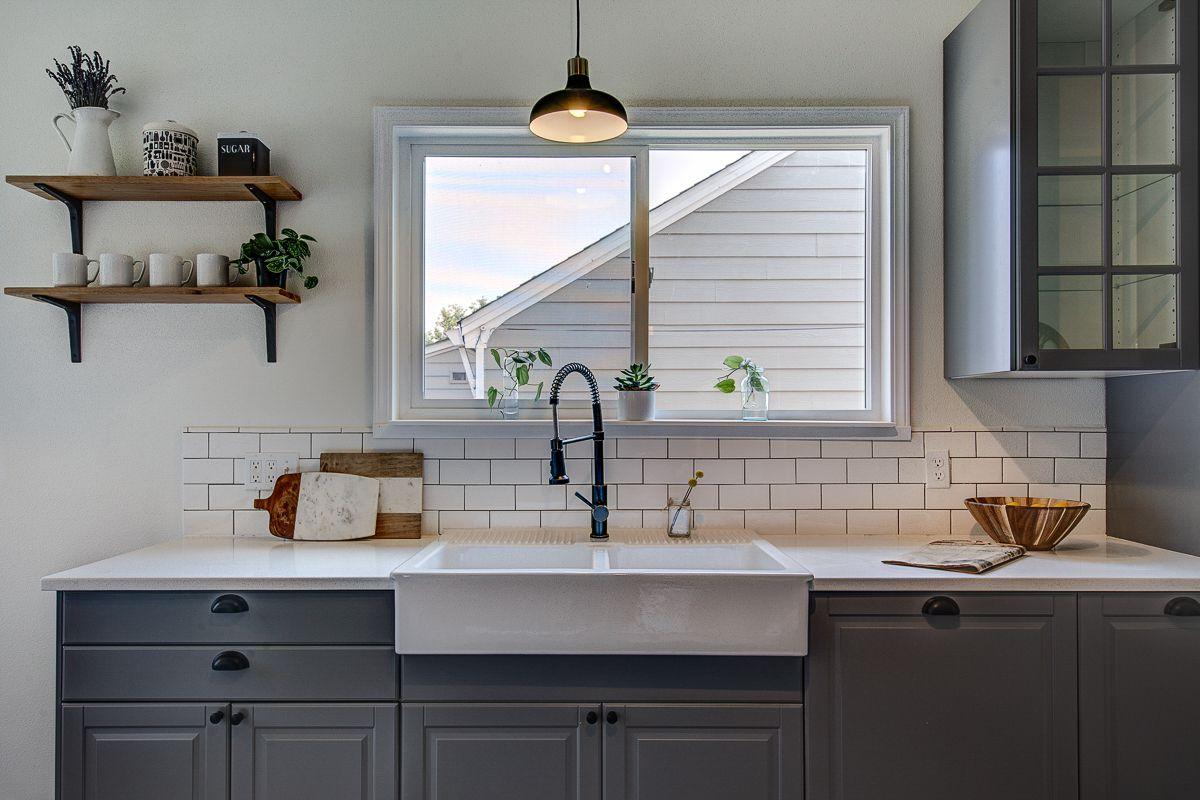 Modern cottage blue kitchen.
