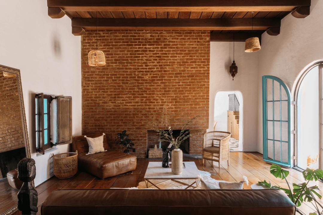 Large brick fireplace.