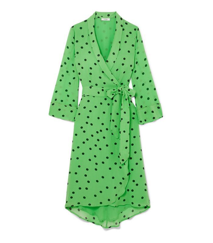 Polka-dot Georgette Wrap Dress