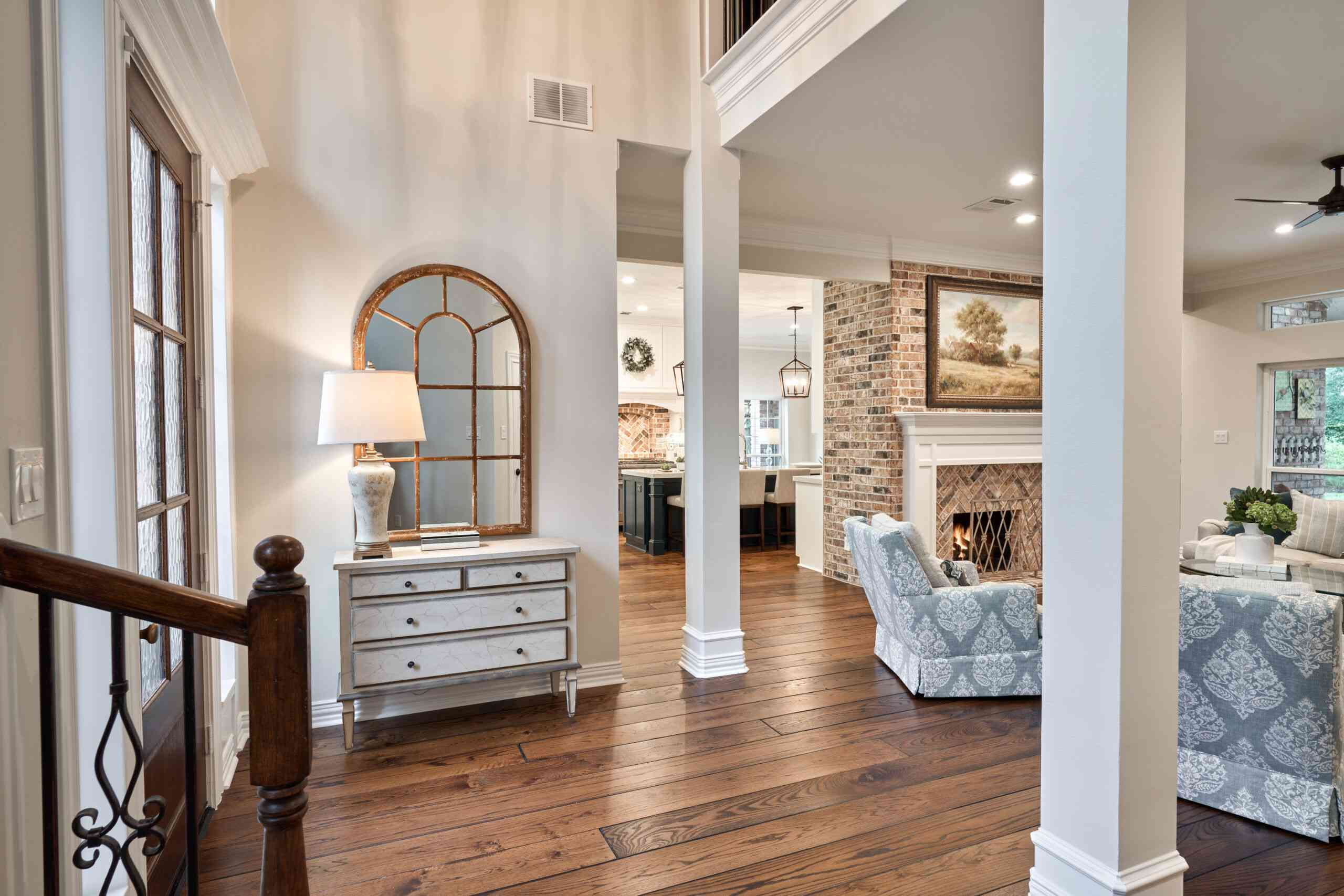 Entryway with a dresser as a console