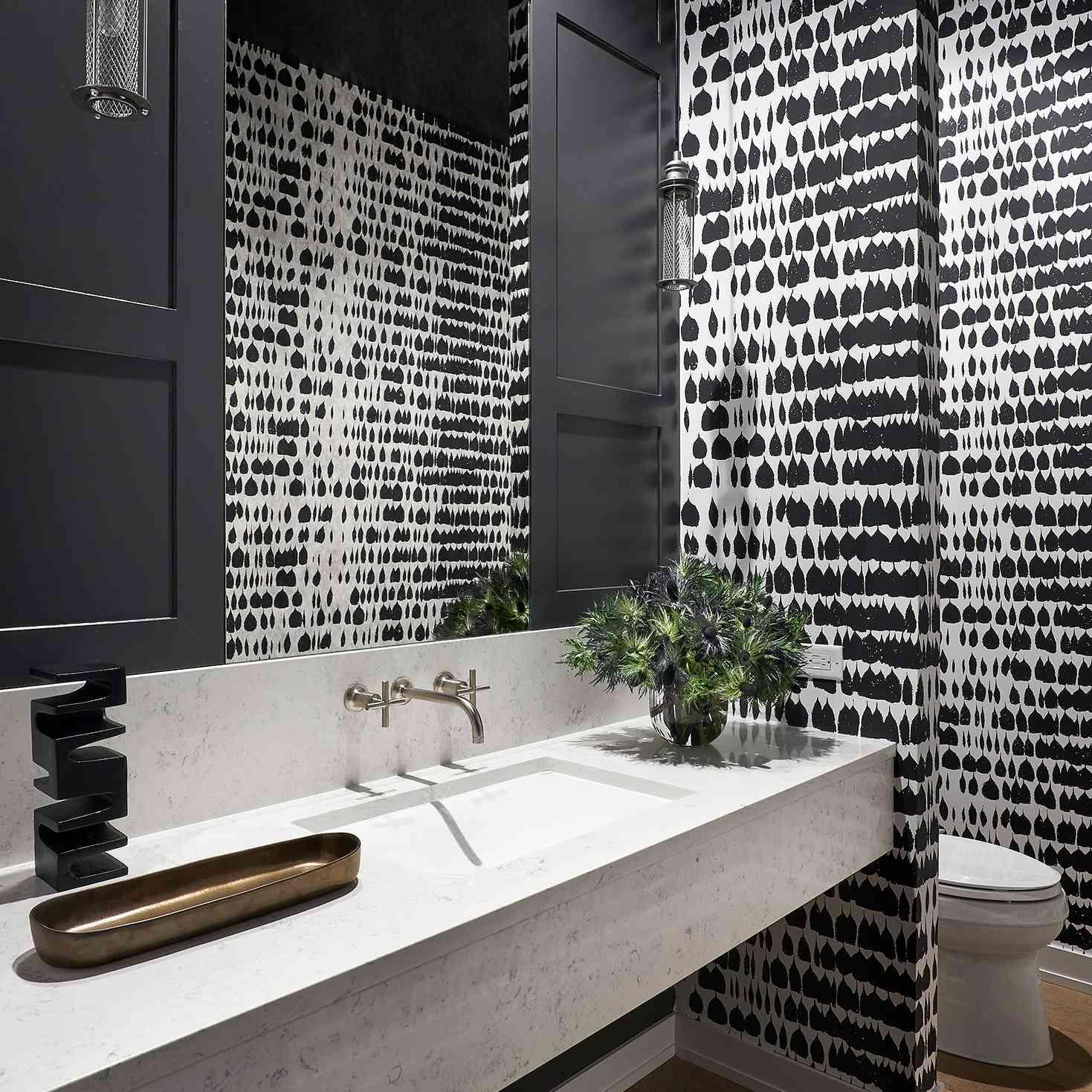 masculine black and white bathroom