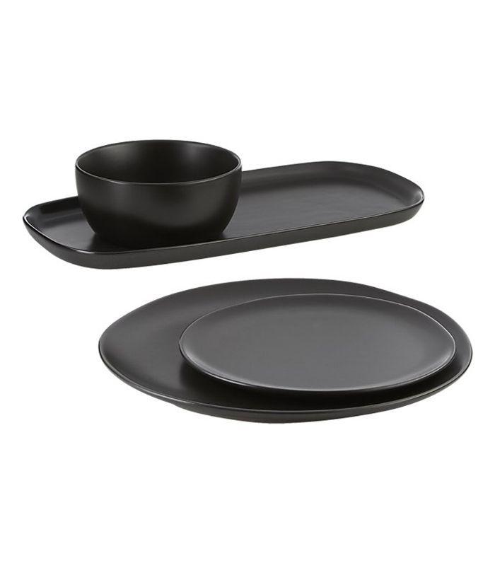 CB2 Crisp Matte Black Dinnerware
