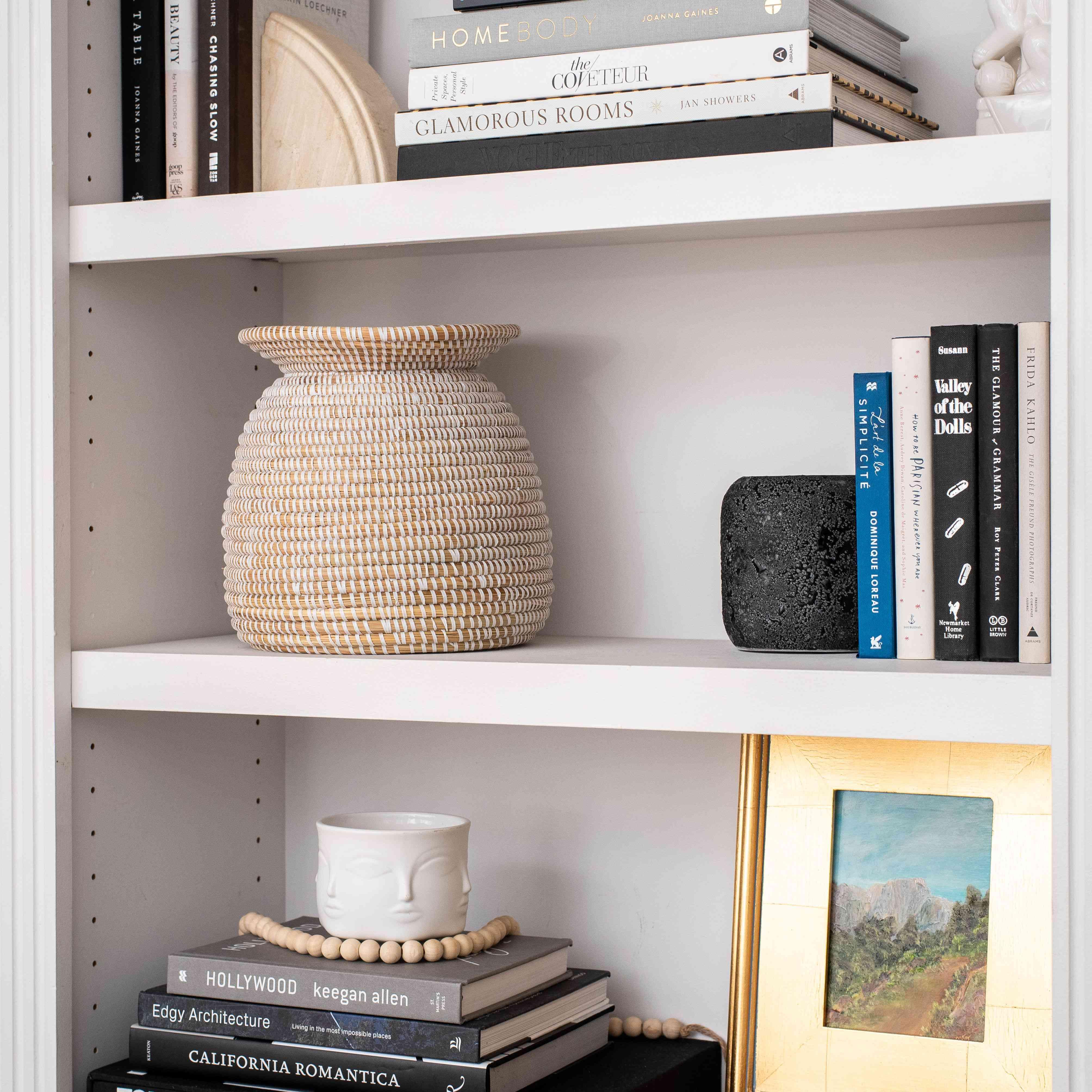 Decorative objects on shelf.