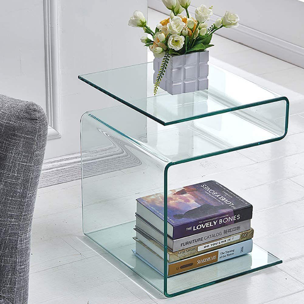 Mesa auxiliar de vidrio en forma de S