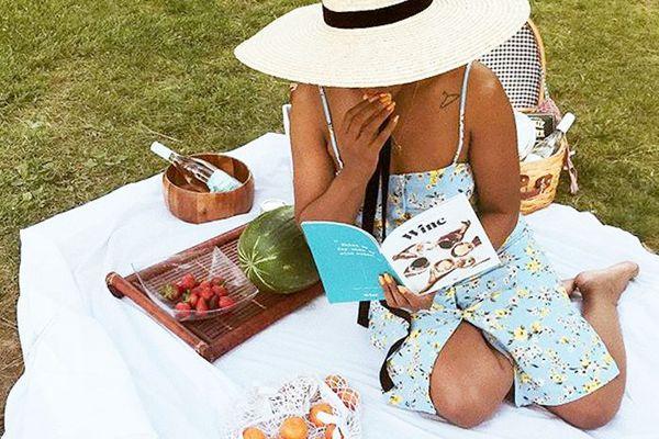 a woman having a solo picnic