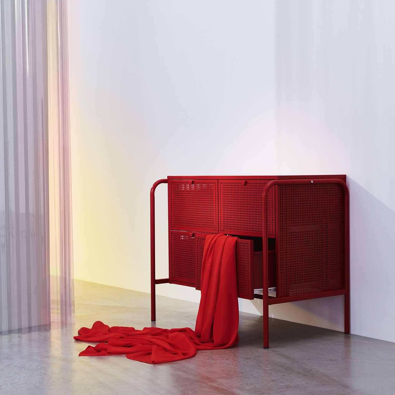 Red four drawer dresser