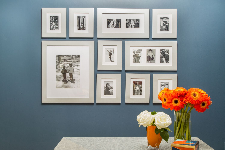 Black and white sleek gallery wall.