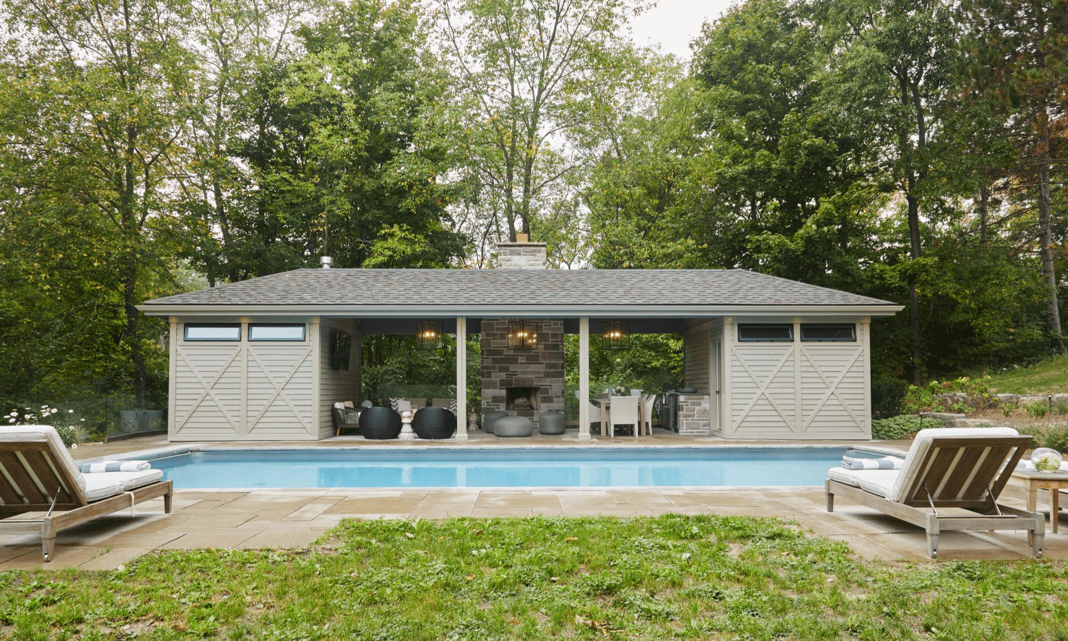 Pool house with living room setup