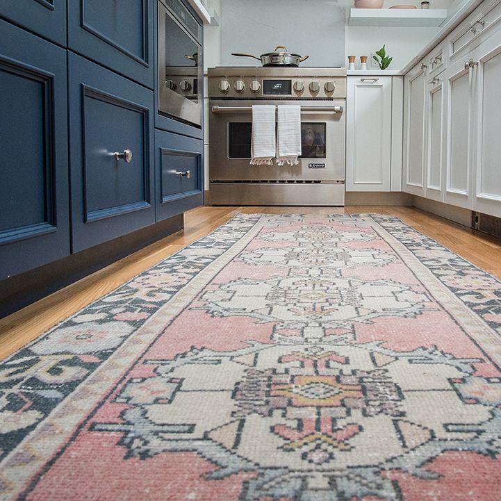 Vintage Middle Eastern rug in a modern kitchen
