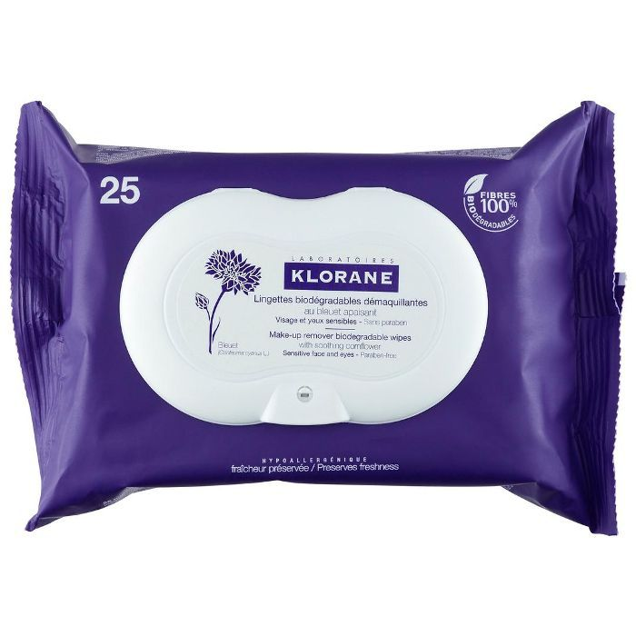 Make-Up Remover Biodegradable Wipes with Soothing Cornflower 25 wipes