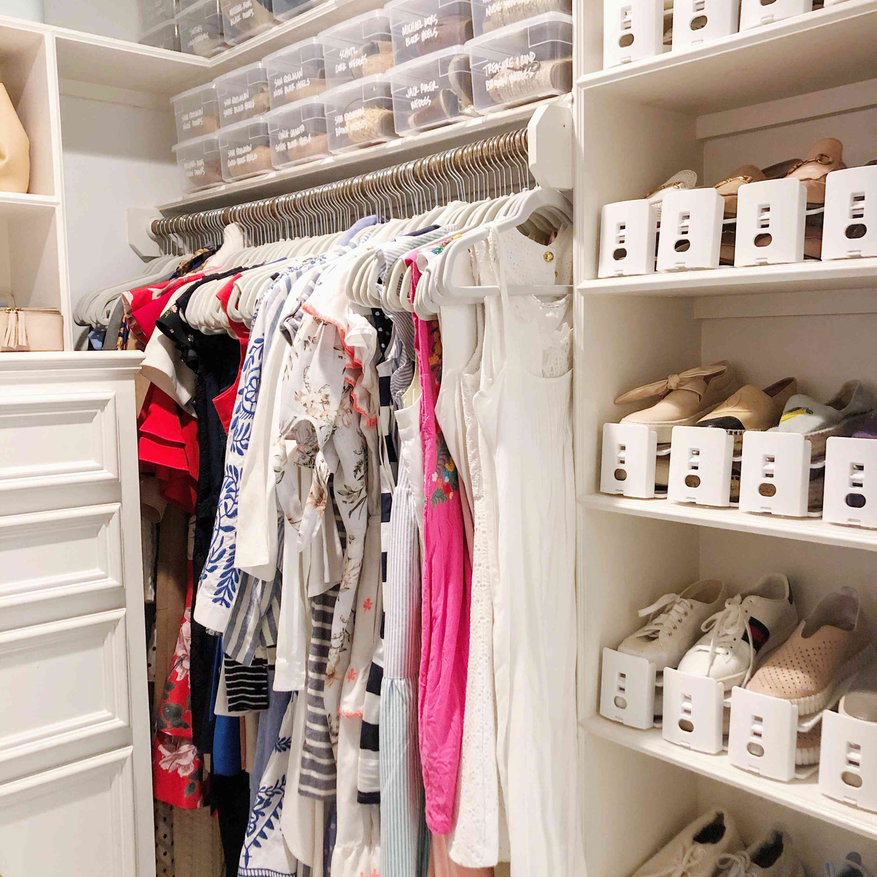 Clear bins on top of a closet