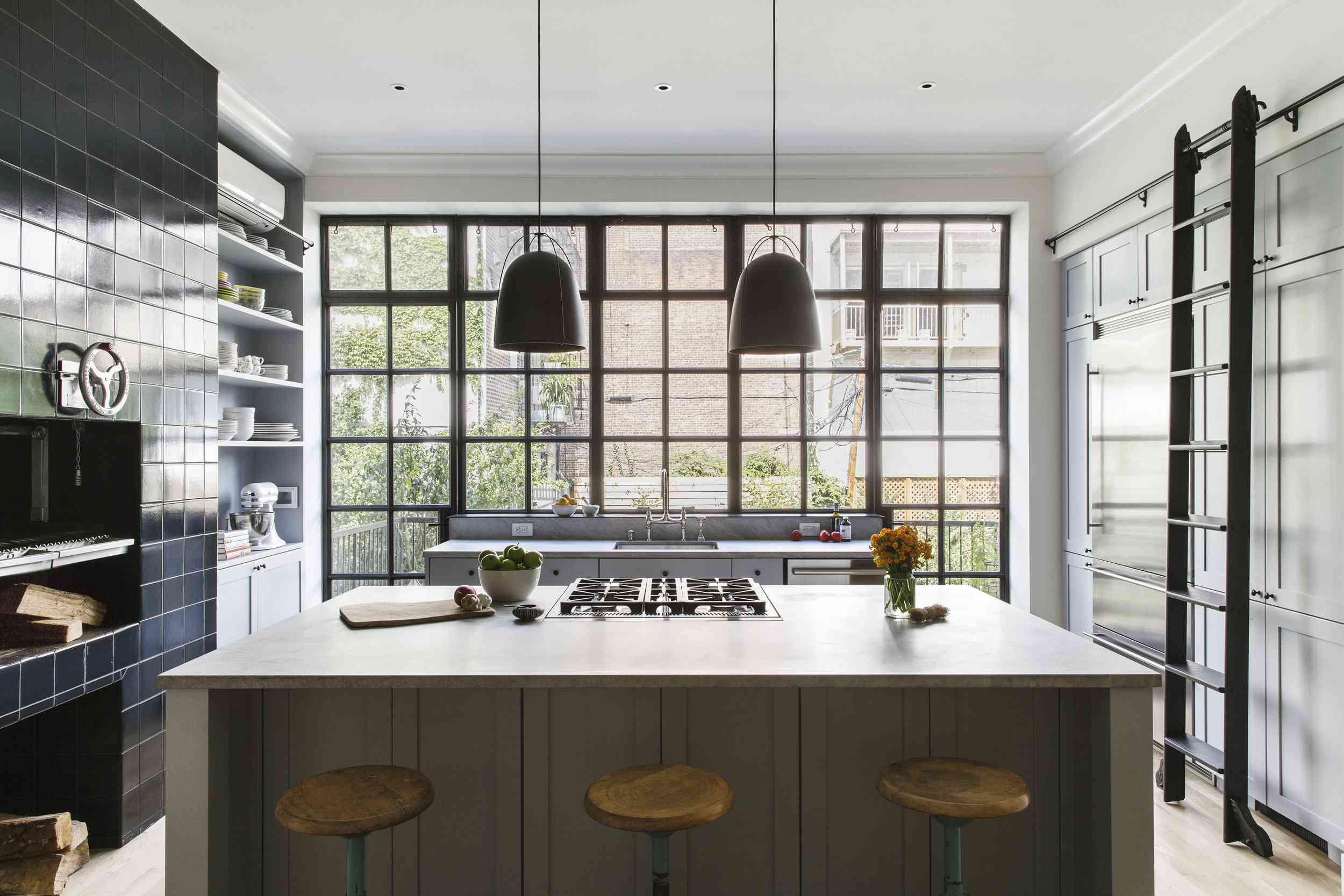 Minimalist kitchen with dark accents