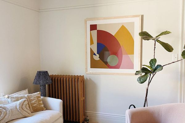 Living room with abstract art