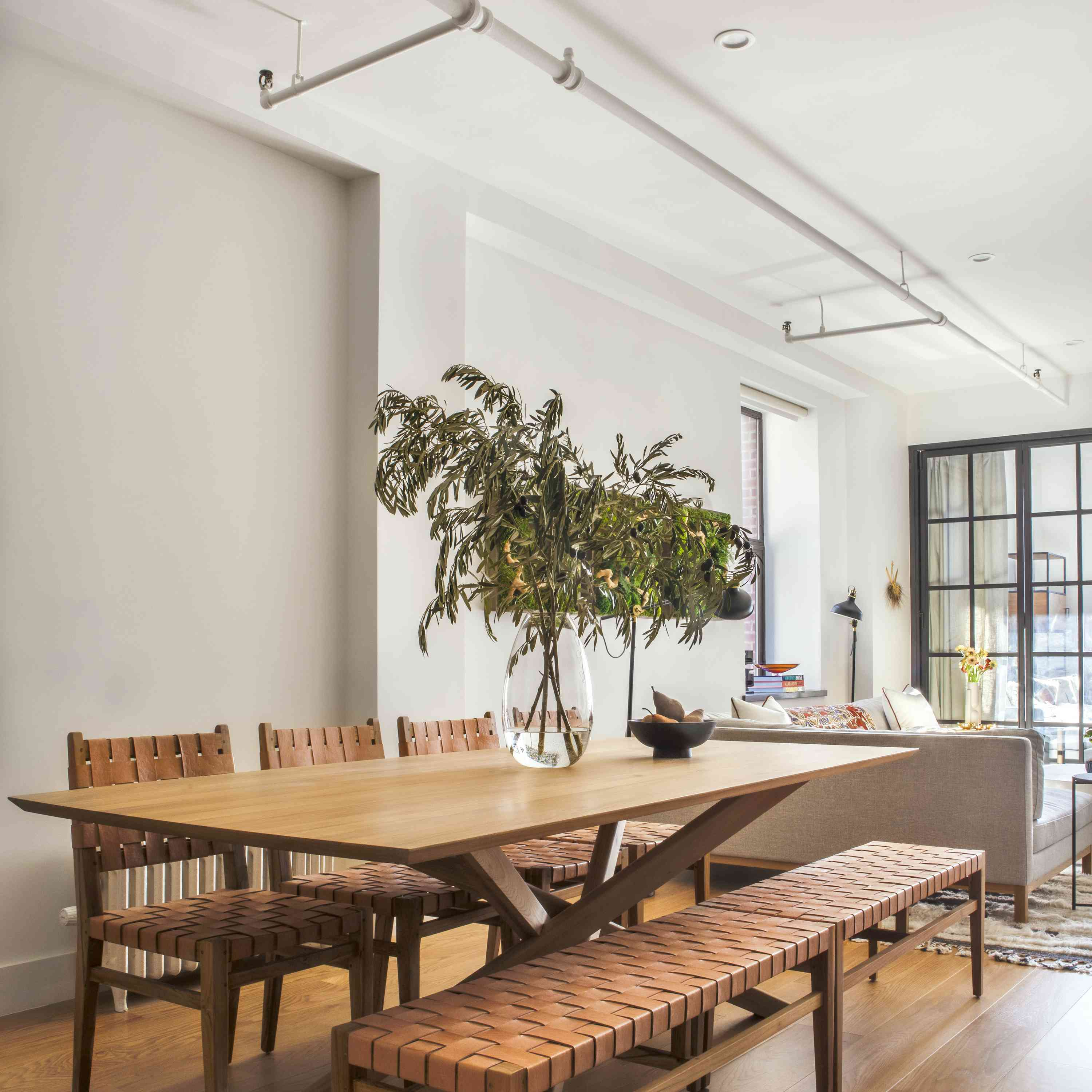 Wooden dining table in NYC apartment.