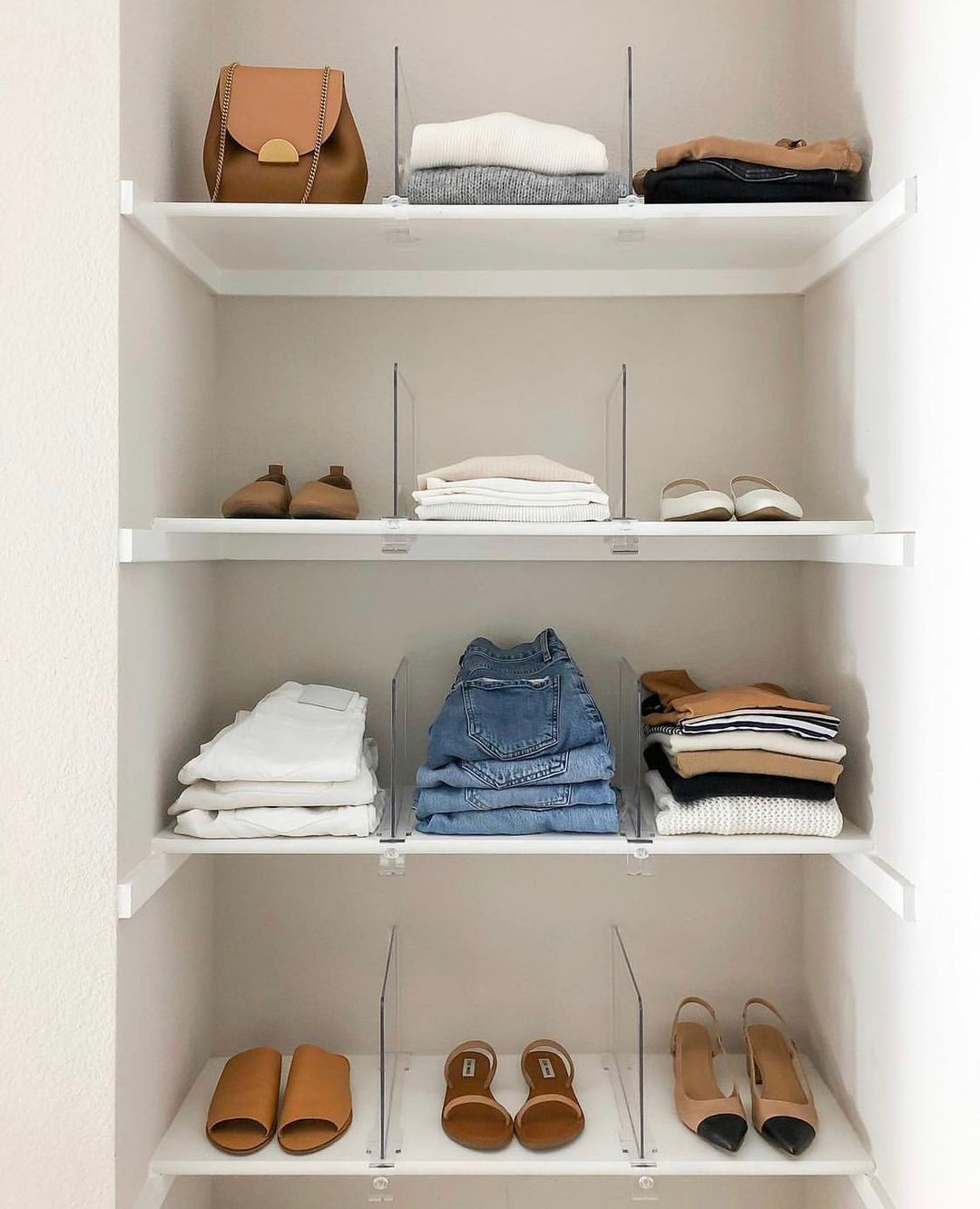 Closet with folded clothes