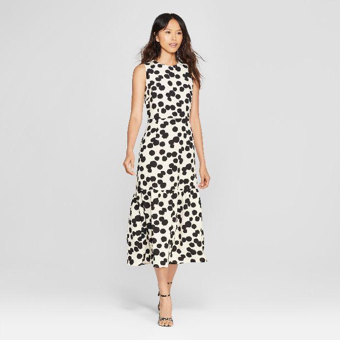 Women's Polka Dot Sleeveless Ruffle Midi Dress