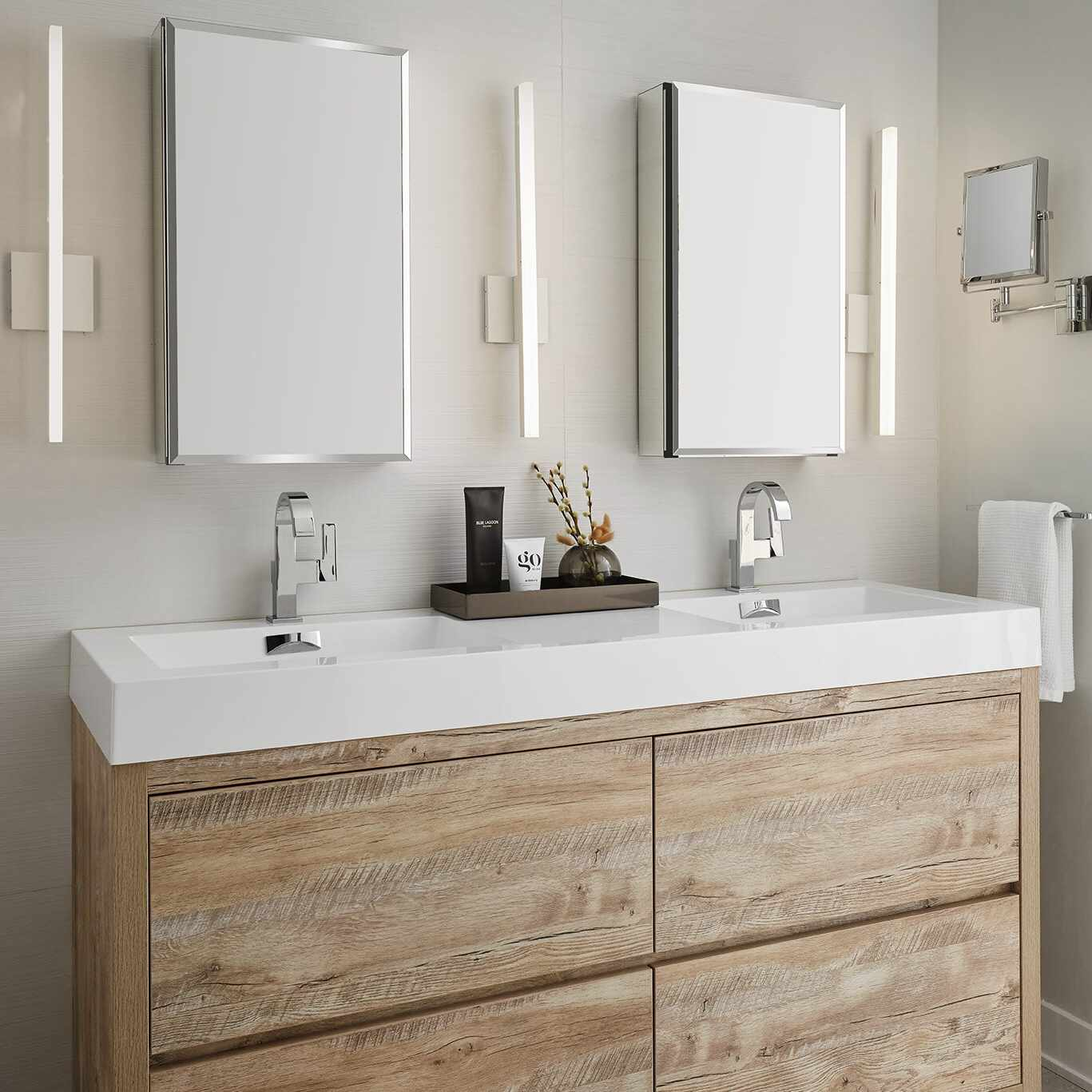 Modern double vanity with two medicine cabinets.