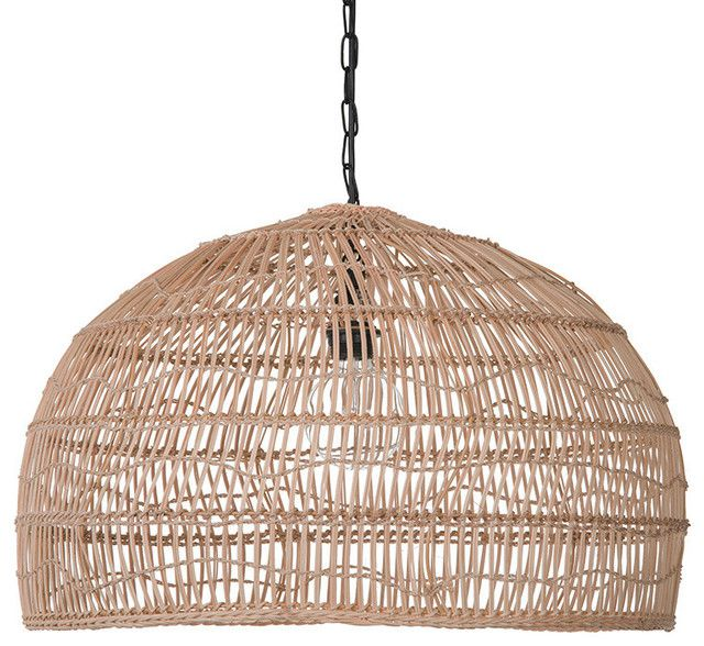 Open Weave Cane Rib Dome Pendant Lamp