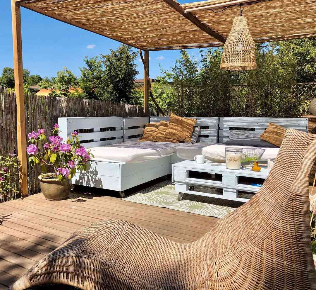 Outdoor patio with pallets