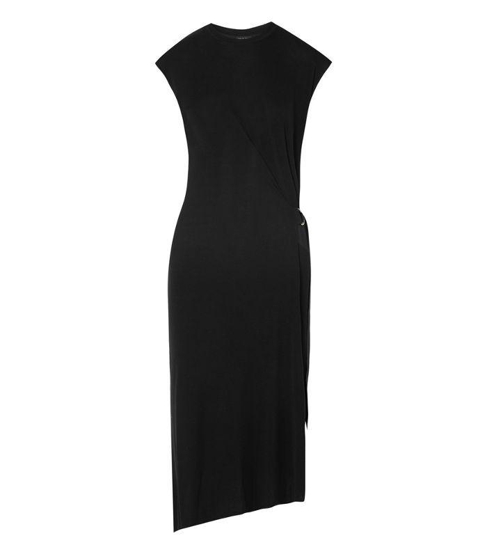 Ophelia Asymmetric Stretch-knit Midi Dress