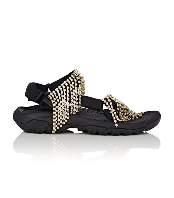 Area Crystal-Fringed Nylon Sandals