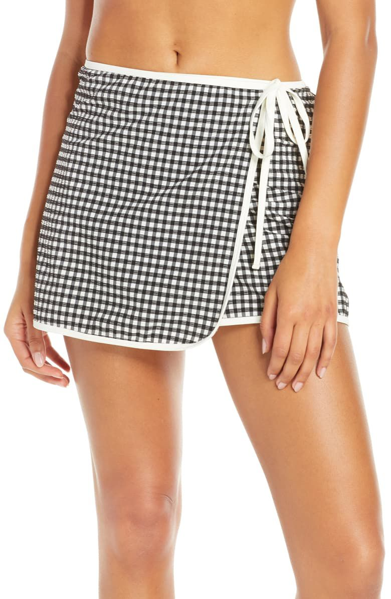 Gingham The Wrap Cover-Up Skirt