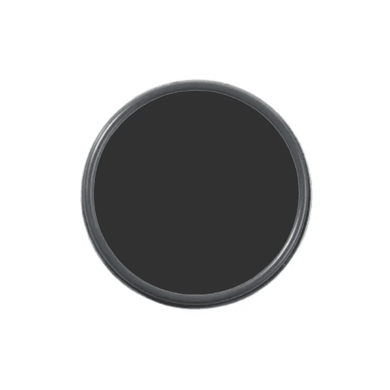 An overhead shot of a paint can with black paint in it