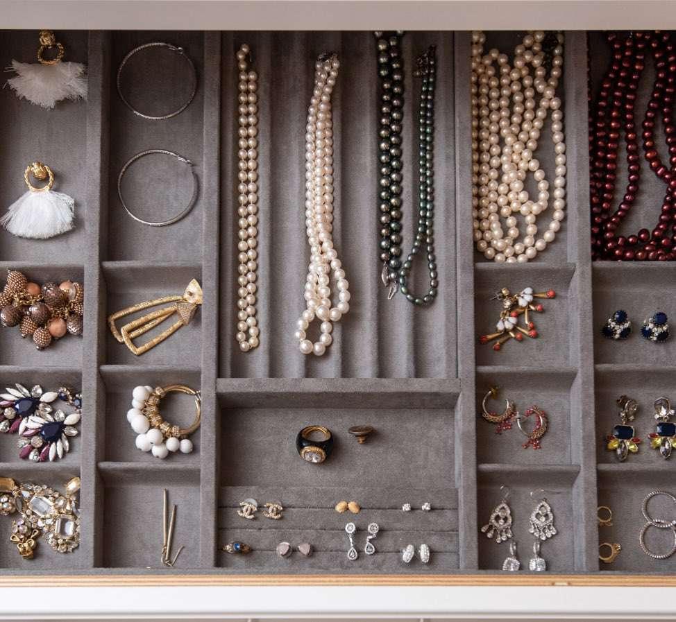 jewelry storage gray velvet box